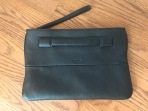 Perlina Black Leather Clutch Purse
